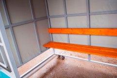 Скамья - деревянный настил с покрытием морилкой