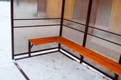 Скамья - деревянный настил пропитанный морилкой и лаком