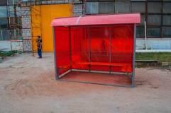 Внешний вид павильона для курения КМ-1 со скамьей по трем сторонам
