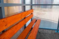 Скамья и спинка - деревянный настил пропитанный морилкой и покрытый лаком