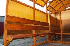 Скамья со спинкой - деревянный настил с покрытием морилкой
