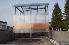 Павильон для курения КМ-9 с отделкой прозрачным сотовым поликарбонатом