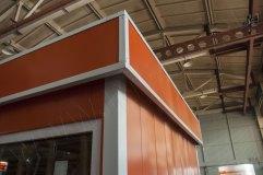 Декоративный козырек по периметру павильона. Основной цвет оранжевый. Углы белые.