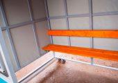 Скамья — деревянный настил с покрытием морилкой