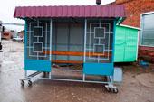 Миниатюра остановочного павильона ОМ-3К (цвет бирюзовый)
