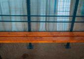 Спинка скамьи — ограничители из профильной трубы 20 на 20 мм