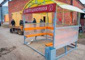Павильон для курения модели КМ-7 обшивается сотовым поликарбонатом по трем сторонам