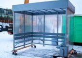 Отделка курилки по трем сторонам сотовым поликарбонатом (в данном изделии поликарбонат прозрачный)