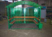 Внешний вид павильона для курения КМ-3 зеленого цвета