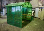 Отделка сотовым поликарбонатом зеленого цвета