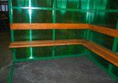 Скамья деревянный настил с покрытием морилкой и лаком