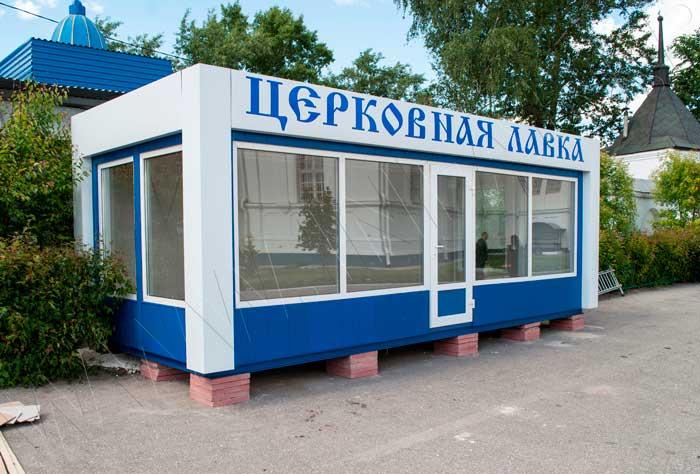 Отделка модульного павильона вертикальным декоративным сайдингом синего цвета