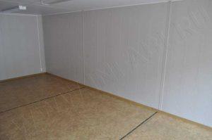 Внутренняя отделка модульного павильона. Стены - панели МДФ, потолок - панели ПВХ, пол - линолеум