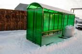 Миниатюра павильона для курения КМ-1Б зеленого цвета