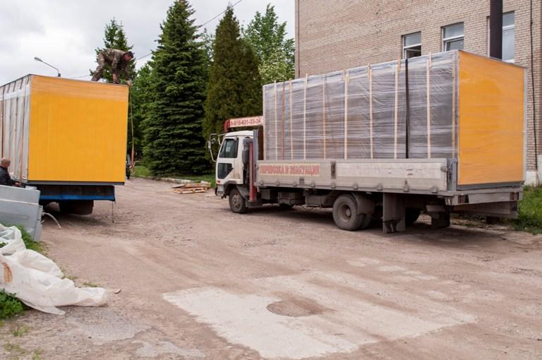 Трансопртировка модулей торгового павильона