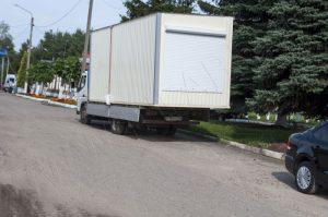 Подготовленный к транспортировке модуль павильона