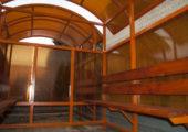 Каркас и сотовый поликарбонат для курительного павильона оранжевого цвета