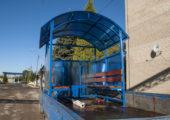 Синий — один из популярных цветов при отделке павильона для курения