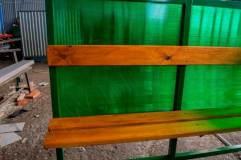Скамья и спинка - деревянный настил с пропиткой морилкой и покрытая лаком