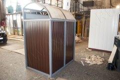 Крыша навеса для контейнеров формой четверть круга с отделкой листом из сотового поликарбоната