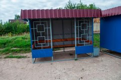 Внешний вид остановочного павильона ОМ-3K (цвет синий)