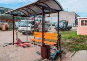 Легкая и компактная конструктивно автобусная остановка
